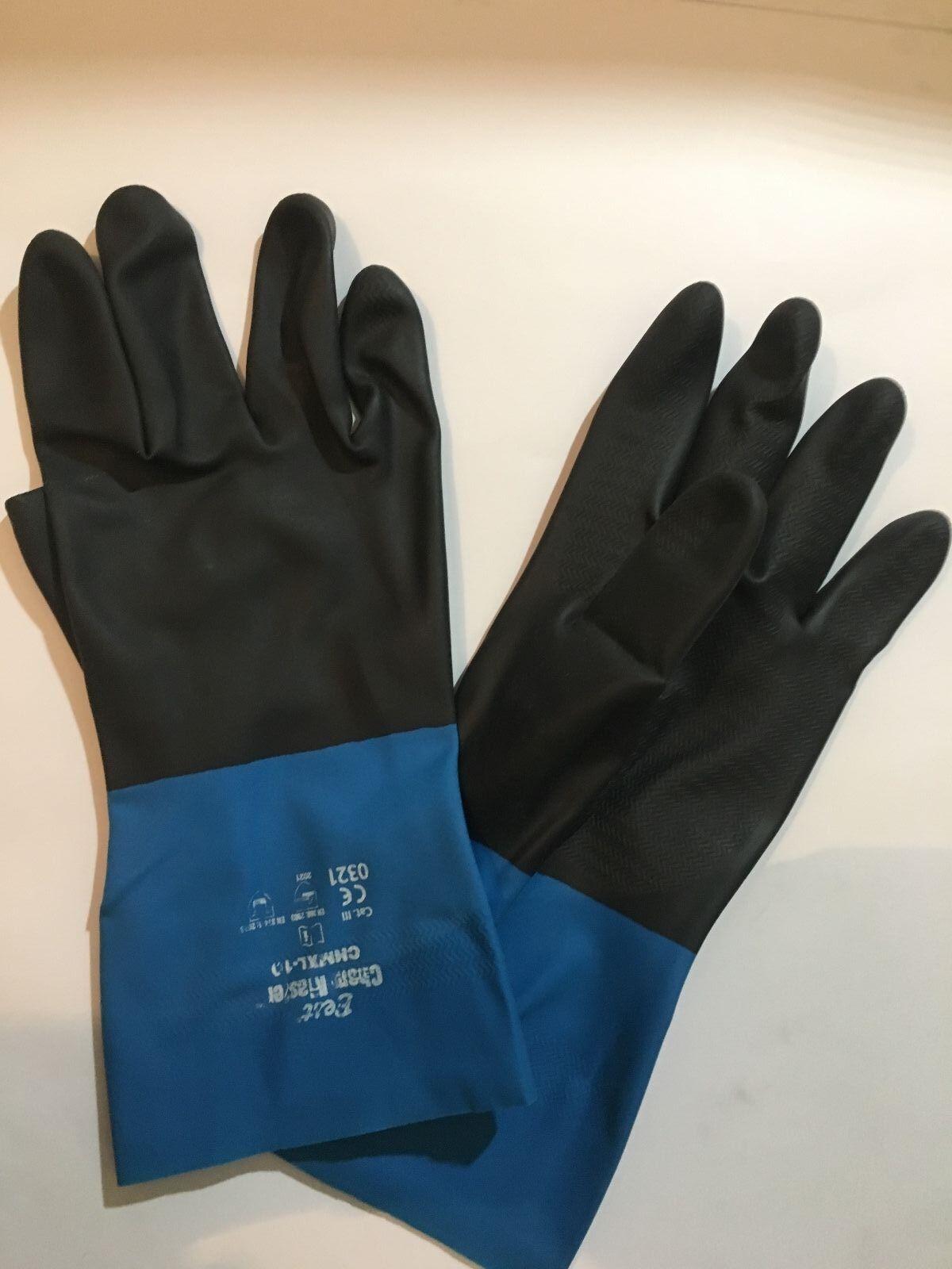 1 PAIR Showa Best CHM Chem Master Neoprene Over Natural Rubber Glove SIZE XL