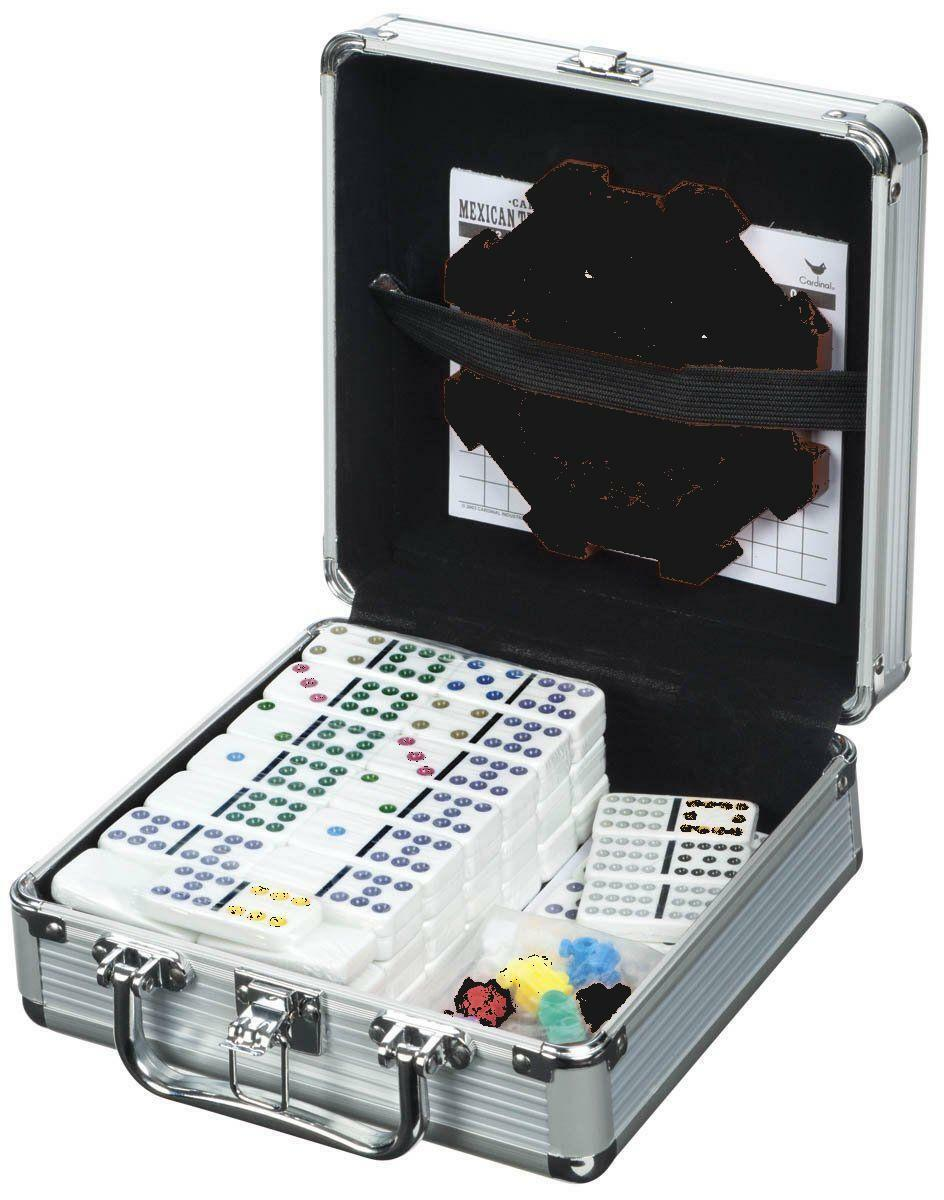 Cardinal Industries Mexican Train Domino Game in an Aluminum Case, Free Shipping