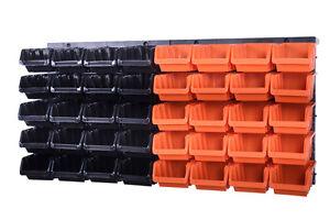 42-teiliges-SET-Lagersichtboxenwand-Stapelboxen-mit-Montagewand-Werkzeugwand