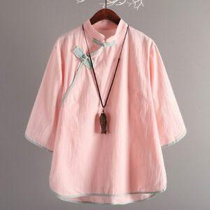 a43d9daa6 Lady Linen Loose T Shirt Vintage Frog Button Mandarin Collar Top ...