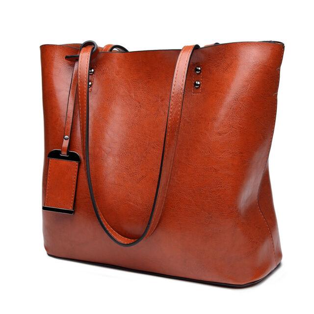 98e0c2f3a2bf Women Fashion PU Leather Handbag Plain Large Shoulder Tote Bag ...