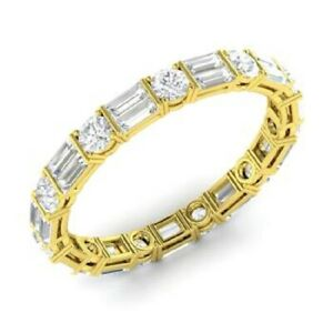 2.00 Ct Baguette Moissanite Eternity Band 14K Real Yellow Gold Anniversary Ring