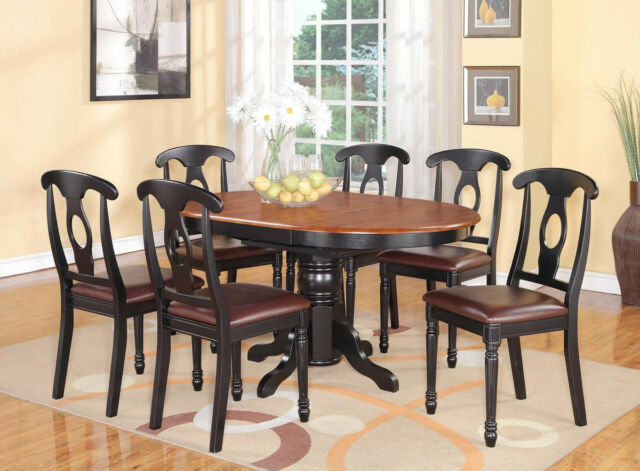 7pc Kenley Oval Kitchen Dining Set Table 6 Leather Seat Chairs Black Cherry