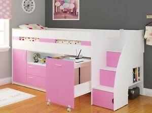 Image Is Loading Pink Amp White Single Supreme Midsleeper Storage Bed