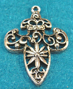 Tibetan Silver Fleur de Lis Charms Pendants Earring Drops Findings FDL07 10Pcs