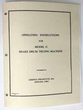 Lempco Model G Brake Lathe Instruction And Parts Manual