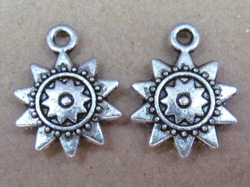 50pc Retro Tibetan Silver Dangle Charms Sunflower Accessories Wholesale PL042