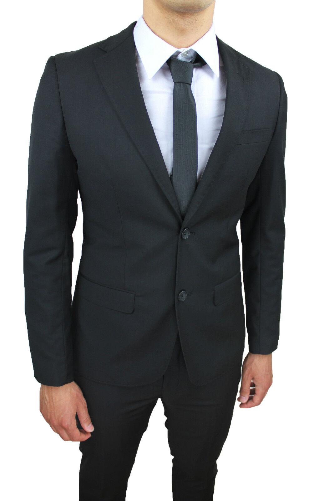 Kleid komplette Mann sartoriale schwarz slim fit elegante Zeremonie da 42 a 60   | Erste Klasse in seiner Klasse  | Deutschland  | Angenehmes Aussehen