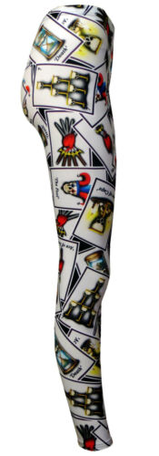 Gothic Tarot Card Black Magic Fortune Teller Skulls Alternative Printed Leggings
