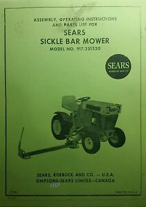 sears sickle mower implement lawn garden tractor owner parts rh ebay com Craftsman 42 Riding Mower Manual Craftsman Riding Lawn Mower Manual 917.272950