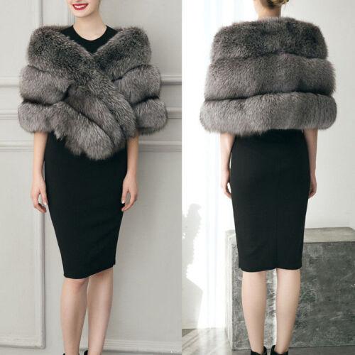 Women Faux Fur Coat Shawl Stole Wrap Shrug Winter Wedding Party Evening Cape UK