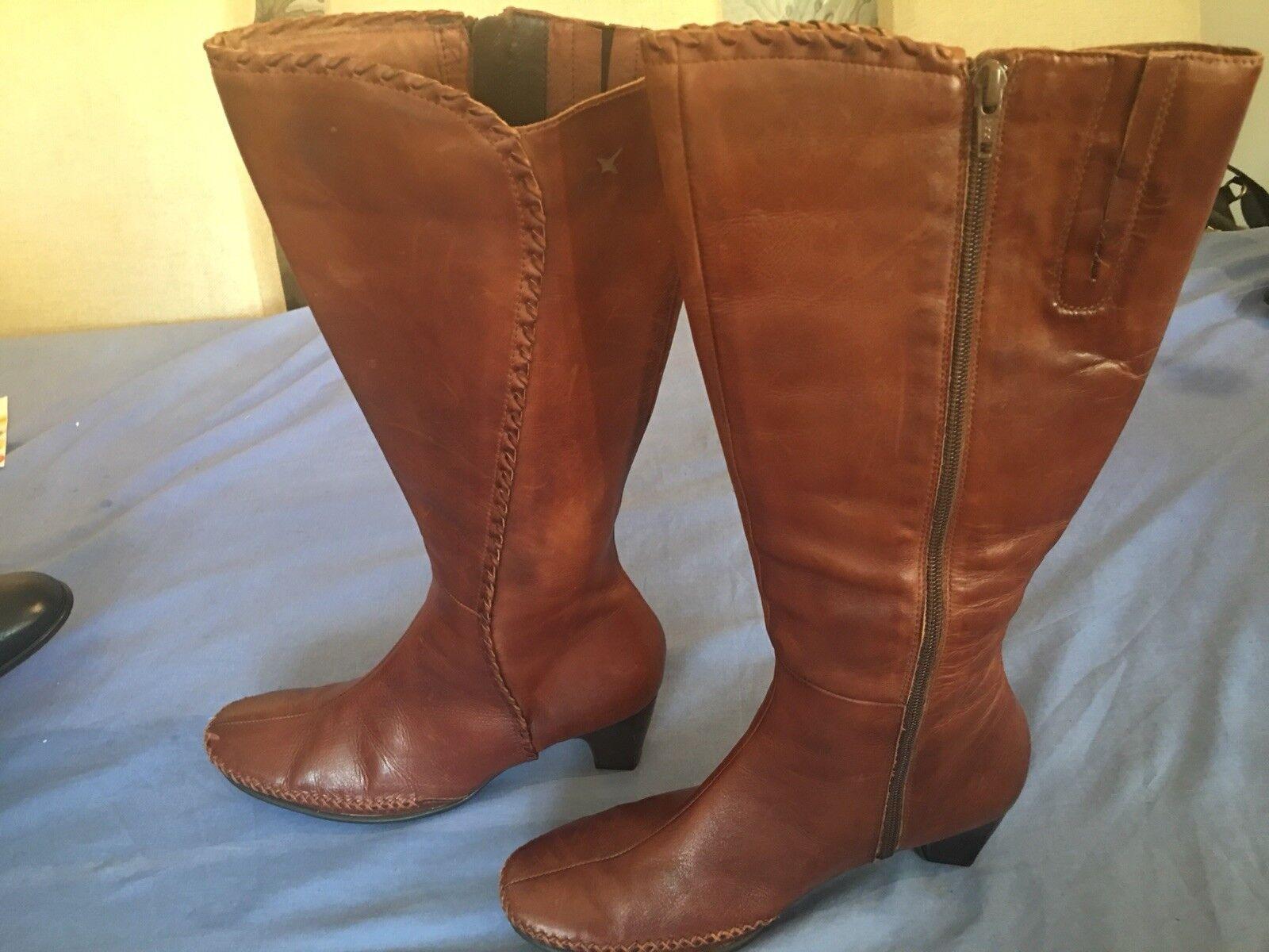Pikolinos Ladies Brown Knee High Boots UK Size 5 38 (BT07).