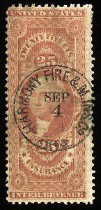 B698 U.S. Revenue Scott #R46c 25c Insurance, 1863 handstamped insurance cancel