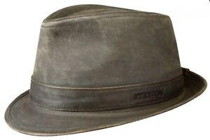 Stetson-Odessa-Trilby-braun-Lederoptik-used-look-Herrenhut-Huete-hat-hats