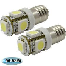 2x SMD LED E10 Lampe Schraubgewinde 6V Volt Xenon weiss 5x5050 Power smd
