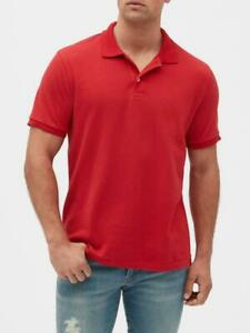 Bnew-GAP-Short-Sleeve-Pique-Mens-Polo-Shirt-Modern-Red-XS