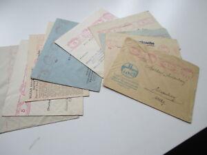 Deutsches-Reich-1926-1931-Firmenbriefe-Freistempel-rot-und-rosa-10-Briefe