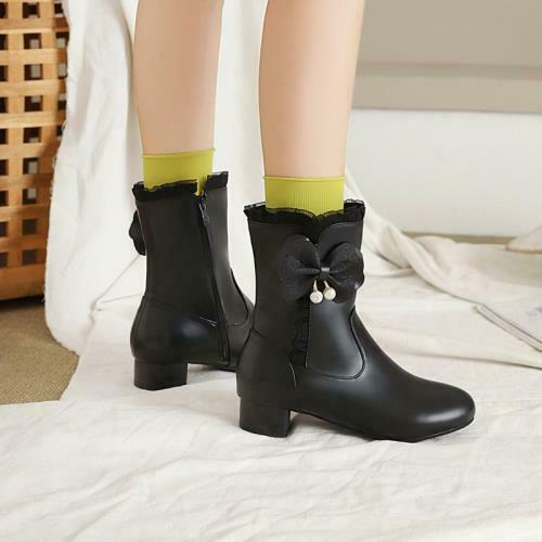 Details about  /New Girls Ankle Boots Bow Zip Low Heel Casual Outdoor Party Shoes 26//27//28-43 D