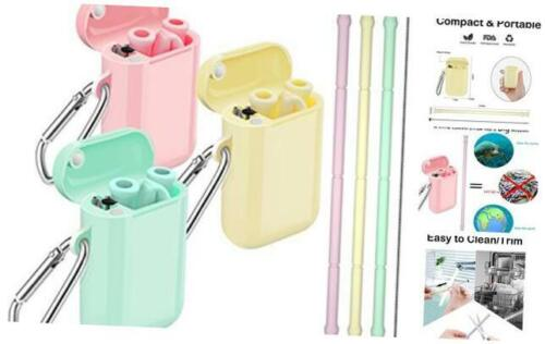 Comvin Silicone Straws 3 Pack Collapsible Cream Yellow//Pink//Mint Green