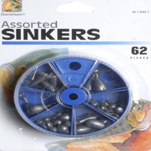 Danielson 62 pc Assortiment pêche Slip shot pincée sur pesées poids D1001