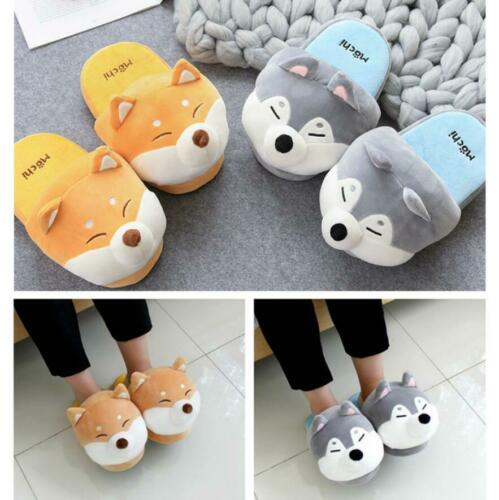 UK PLUSH SLIPPERS FUNNY ANIMAL HOME SLIDES SOFT WARM COTTON SHOES NON-SLIP SHOES