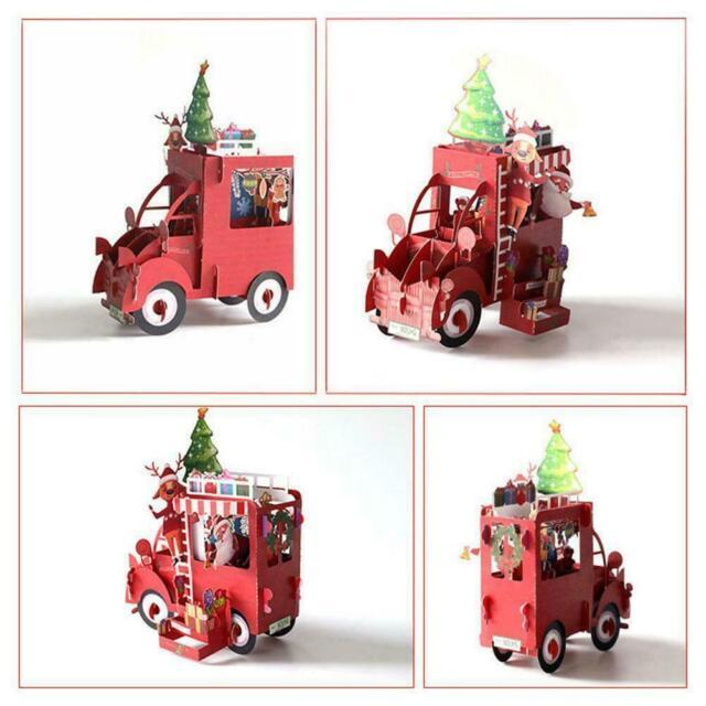 Hot 3D Xmas Christmas Tree Greeting Baby Holiday Happy New Handmade Cards U6Z4