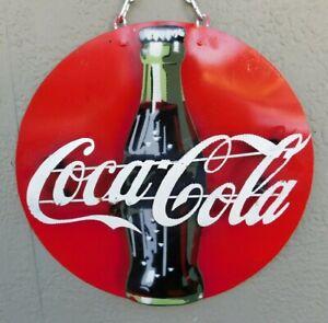 Coca Cola Gas Oil Auto Repairs Metal Sign Arrow Coke Vintage Style Button Garage