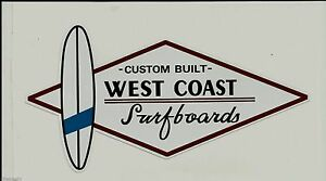 WEST-COAST-SURFBOARDS-Vintage-Retro-Sticker-Decal-1970s-LONGBOARD-SURFER-SURF