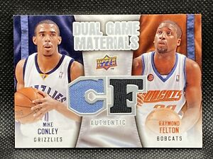 2009-10-Upper-Deck-Mike-Conley-Raymond-Felton-Dual-Game-Materials-Jersey-Card