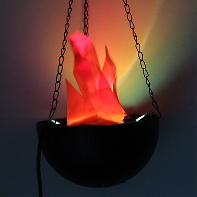 LED Hanging FAKE FLAME LAMP Torch Light Fire Pot Bowl Halloween Prop Decorations