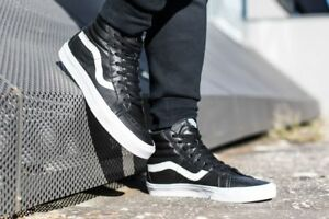 Details about new mens 4.5 Vans Sk8-Hi reissue premium Leather VN000ZA0EW9  black/white