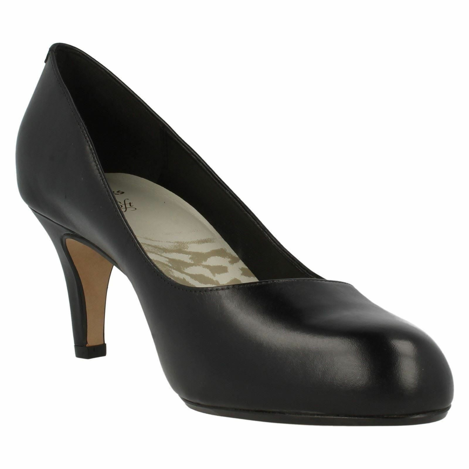 Clarks'Arista ABE 'Damen schwarz Leder 2.75 schmaler Absatz Freizeit Pumps