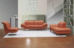 J&M Furniture Modern Astro Italian Leather 3 Piece Livingroom in Pumpkin Color