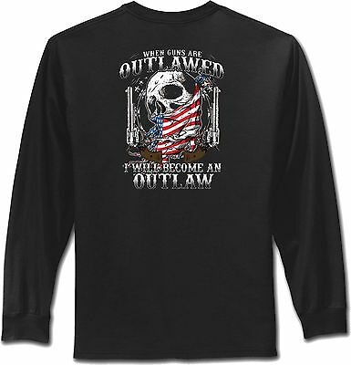 Guns Outlawed 2nd Amendment T Shirt Mens Black Long Sleeve Small to 4XL and Tall