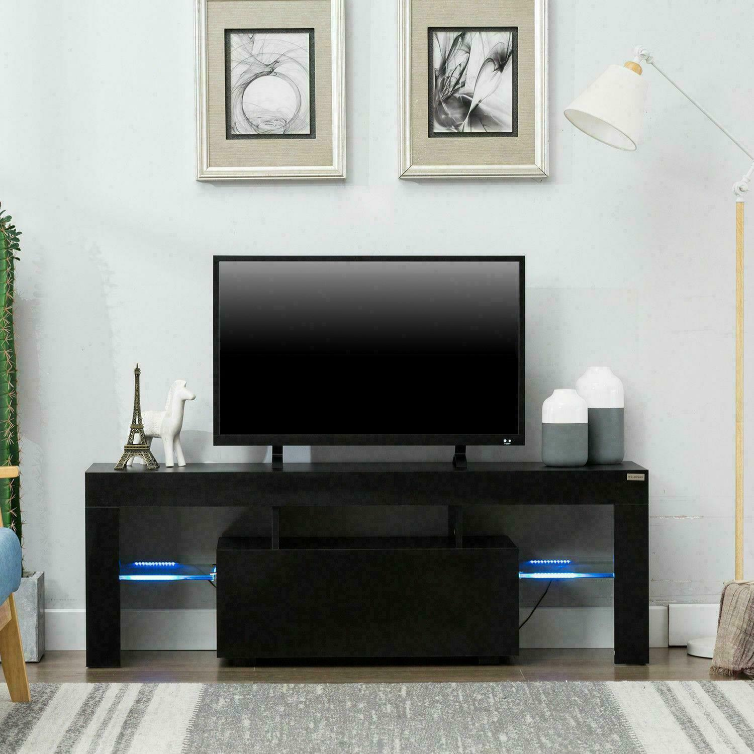 High Gloss Tv Stand Unit Cabinet With Led Lights Shelves Living Room Furniture For Sale Online Ebay