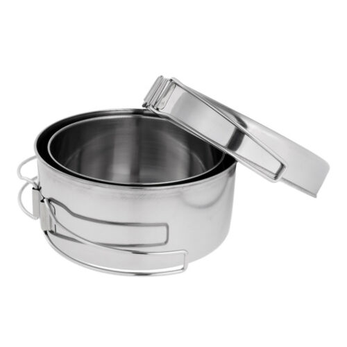 4 in 1 Stainless Steel Outdoor Backpacking Camping Picnic Cookware Cook Set