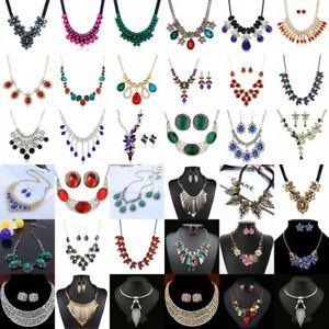 Women-Pendant-Crystal-Choker-Chunky-Statement-Chain-Bib-Fashion-Necklace-Jewelry