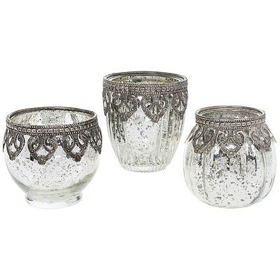 SET OF 3 VINTAGE LACE TEALIGHT CANDLE TRINKET JARS SILVER ANTIQUE EFFECT CHIC .