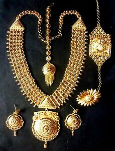 Indian wedding 1 gm gold plated rani haar necklace earrings bracelet image is loading indian wedding 1 gm gold plated rani haar aloadofball Image collections