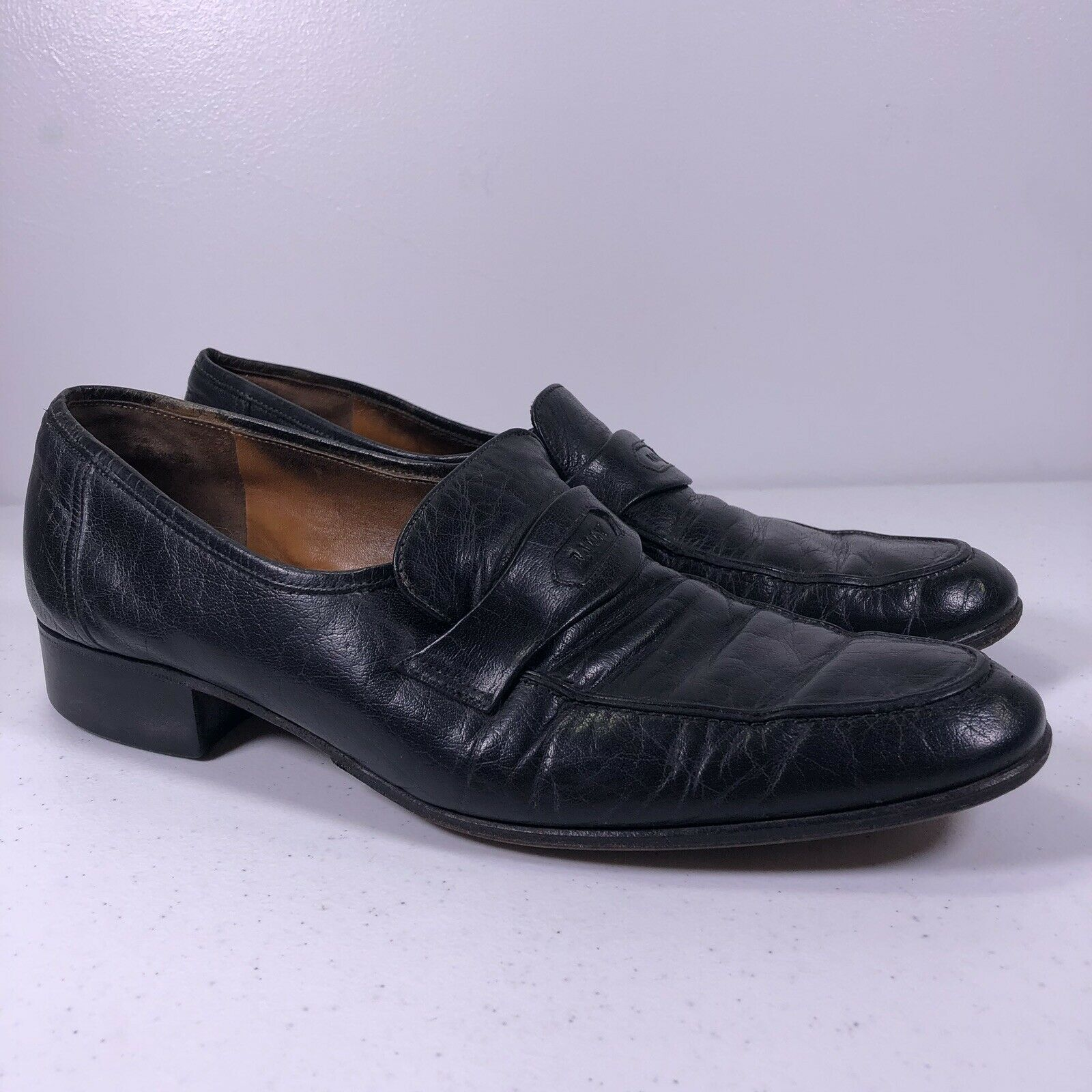 BALLY Mens size 10N Black Leather PENNY LOAFERS new shoes shoes Made In ITALY