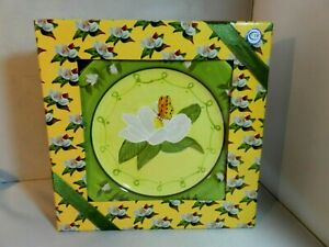 Beau-Rivage-Luncheon-Plates-4-Flower-Butterfly-Yellow-Center-Floral-Green-Rim