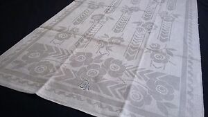 old unused linen damask Towel / Runner beautiful Art Deco flower design