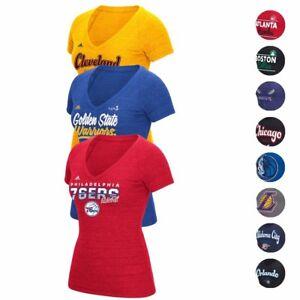 NBA Adidas Various Team Graphic Logo Premium Tri-blend V-Neck T-Shirt Women's
