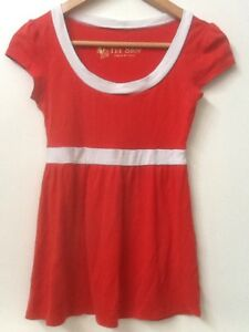 VS-Tee-Shop-Knit-Top-Size-XS-Red-With-White-Trim-Cap-Sleeve-Babydoll