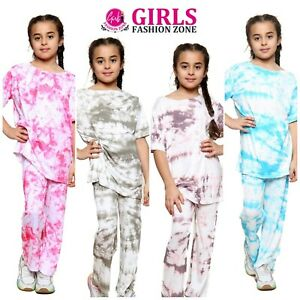 Girls Tie Dye Loose Baggy Top & Comfortable Loose Trouser Outfit/Set