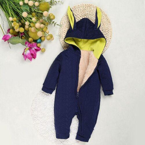 Newborn Baby Girls Boys Zipper Jumpsuit Romper Infant Winter Warm Hooded Outfits