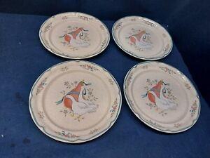 Vintage International Marmalade Blue Goose Set/4 Soup/Cereal Bowls #8868 JAPAN