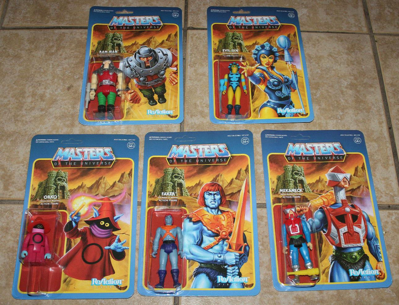 Motu súper7 Masters Of The Universe 5 Figura Lot ReAcción Faker Orko Evil-Lyn +