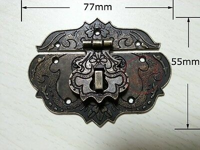 Chinese Old Lock Latch Fire Totem Buckle Clasp For Vintage Cabinet Jewelry Box