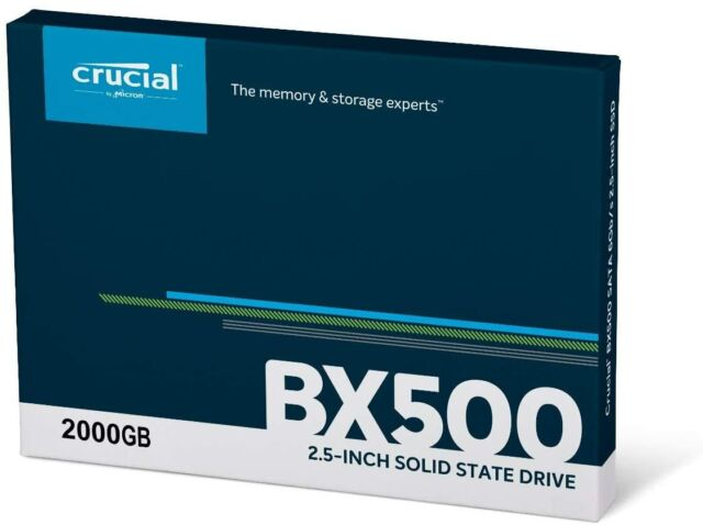 """HARD DISK SSD 2,5"""" STATO SOLIDO 2Tb 2000GB CRUCIAL BX500 CT2000BX500SSD1"""